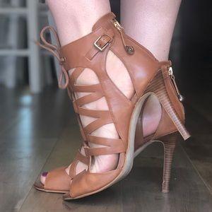 Cognac leather ankle booties brown heels